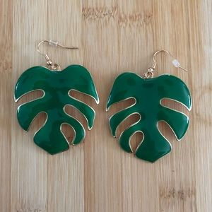 Monstera leaf earrings large enamel earrings.